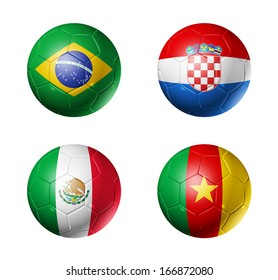 3D soccer balls with group A teams flags, Football Brazil 2014. isolated on white
