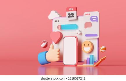 Plateforme de médias sociaux 3D, concept d'applications de communication sociale en ligne, emoji, page Web, icônes de recherche, chat et graphique avec arrière-plan smartphone. Illustration 3d