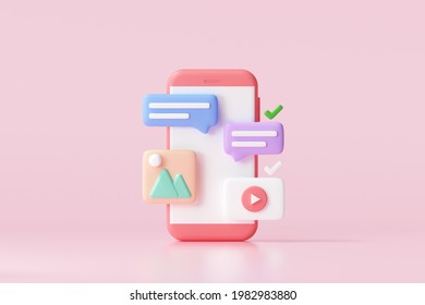 3D Social media platform, online social communication applications concept, emoji, webpage, search icons, chat and chart with smartphone background. 3d illustration