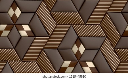 3D soft geometry tiles made from brown leather with golden decor stripes and rhombus. High quality seamless realistic texture.