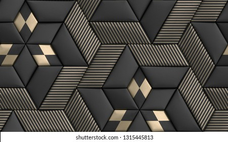 3D soft geometry tiles made from black leather with golden decor stripes and rhombus. High quality seamless realistic texture.