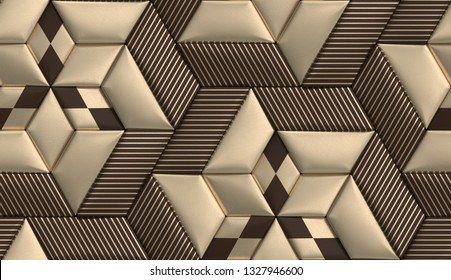 3D soft geometry tiles made from brown and golden leather with golden decor stripes and rhombus. High quality seamless realistic texture.