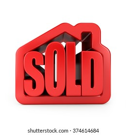 3D sold text in house. Icon isolated on white background.