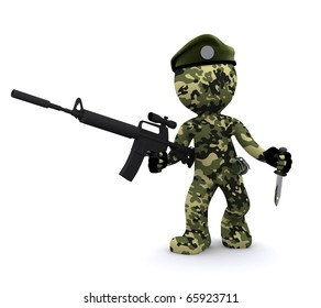 3d soldier isolated on white background