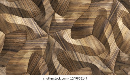 3D solid wood oak panels. Material wood walnut. High quality seamless realistic texture.