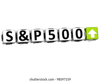 3D S&P500 Stock Market Block text on white background
