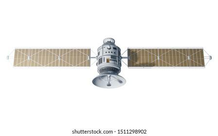 3d Space satellite communication. 3d render sputnik illustration. Isolated on white background.