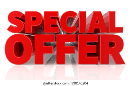 3D SPECIAL OFFER word on white background 3d rendering