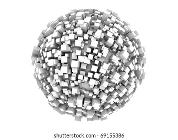 3d sphere made of cubes