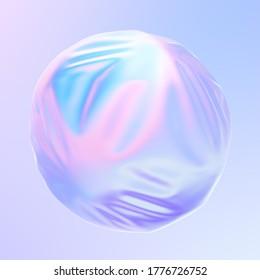 Esferas 3D dentro de la forma líquida en colores holográficos de neón. ondas y movimientos irlandeses sobre la superficie fluida. Representación 3D.