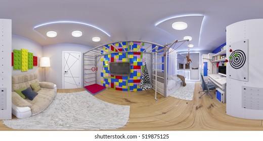 3d spherical 360 seamless panorama of children's room