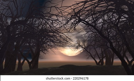 3D spooky Halloween landscape with trees against a moonlit sky