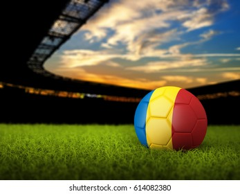 3D Sport Background with soccer ball on stadium grass with flag of Romania