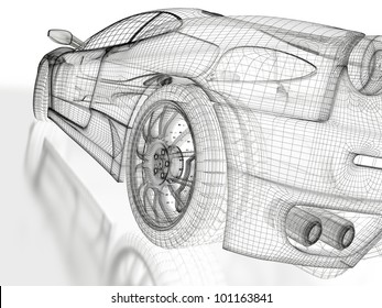 3d sports car model on a white background.