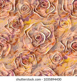 3d,  spotted background, abstract roses, seamless