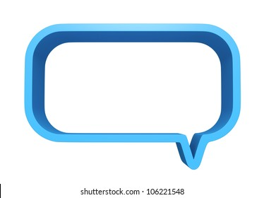 3D Square bubbles speech blue color, design element. isolated