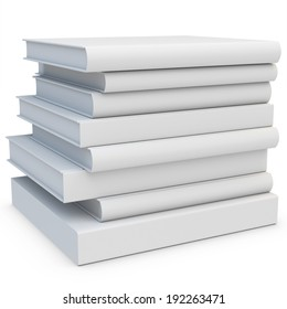 3d stack of blank books on white background
