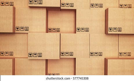3d stack of cardboard boxes.