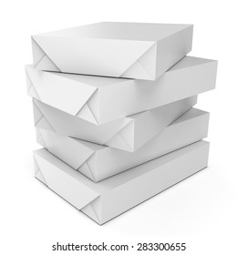 3d stack of packs A4 white paper on white background