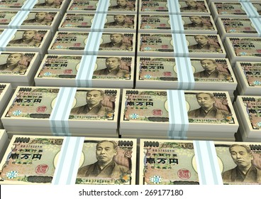 3D stack Piles of Japan money