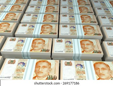 3D stack Piles of Singapore money