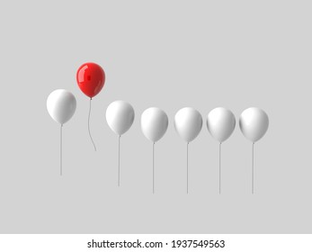 3d stand out from the crowd and different concept , One red balloon flying away from other white balloons on white wall background.3d illustration.
