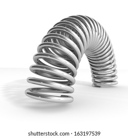 3d steel springs isolated over white background.