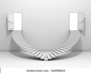 3d steps and door , isolated on white background