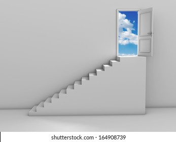 3d steps and door, isolated on white background
