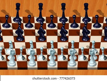 3D Stereogram image of infinite Chess board.