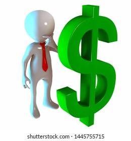 3D Stickman with Dollar Money Symbol