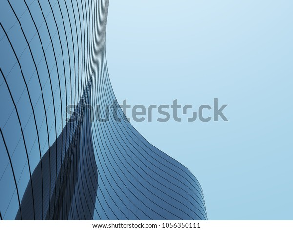 3D stimulate of high rise curve glass building and dark steel window system on blue clear sky background,Business concept of future architecture,lookup to the angle of the corner building.