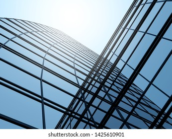 3D stimulate of high rise glass building and dark steel window system on blue clear sky background,Business concept of future architecture,lookup to the angle of the corner building.