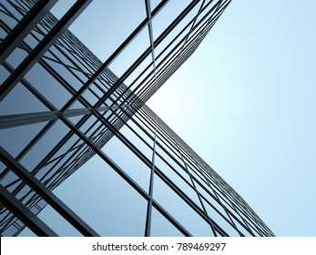 3D stimulate of high rise glass building and dark steel window system on blue clear sky background,Business concept of future architecture,lookup to the angle of the building corner.