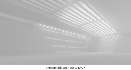 3D stimulate of white interior space with sun light cast the roof shadow on the wall and floor,Perspective of minimal design architecture,3d rendering