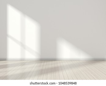 3D stimulate of white room interior and wood plank floor with sun light cast shadow on the wall,Perspective of minimal design architecture