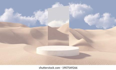 Podio de peatones de piedra 3D premium con espejo detrás. Fondo de dunas de arena. Fondo cosmético abstracto mínimo para la presentación del producto. Modelación en blanco con escenario redondo vacío. Representación 3D.