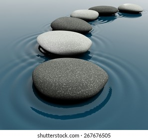 3D. Stone, Zen-like, Water.
