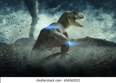 3D Storm  Landscape with dinosaur, 3d rendered landscape with mountains