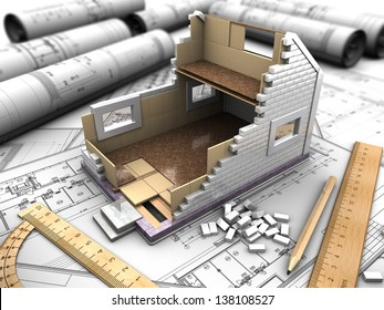 3D structure of the floors of the house on the background blueprints
