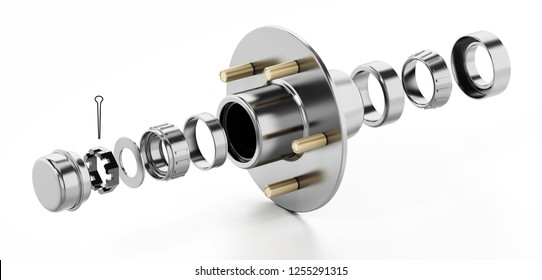 3D structure of a wheel bearing. 3D illustration.