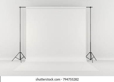 3d studio setup with white background