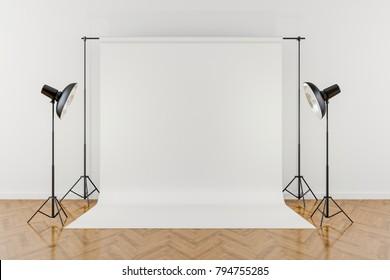 3D-Studio-Setup auf weißem Hintergrund