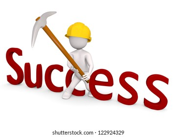 3d success man with steel hammer pick on white isolated background