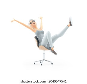 3d successful senior woman in office chair, illustration isolated on white background