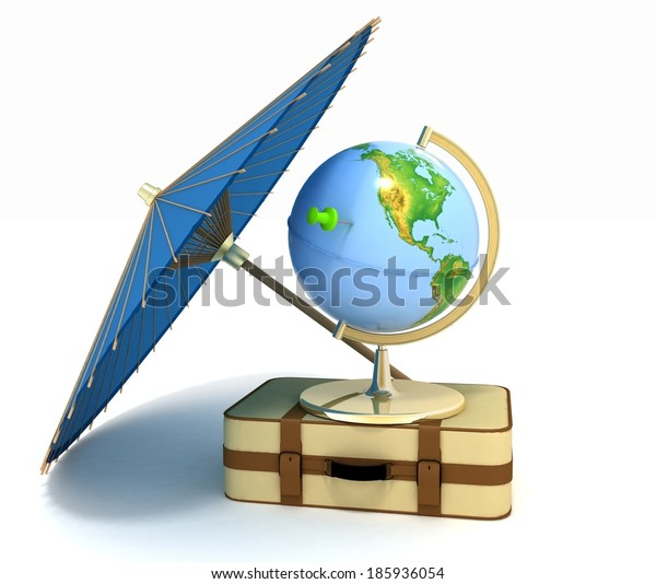 3d suitcase, globe and umbrella. Travel and vacation concept. Trendy signs - summer and journey.  Elements of this image furnished by NASA.