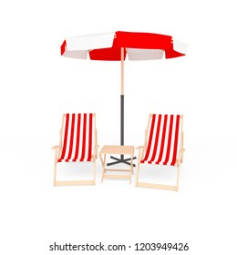 3D sun beach umbrella with two folding chairs with cloth cover with naval pattern and wooden table