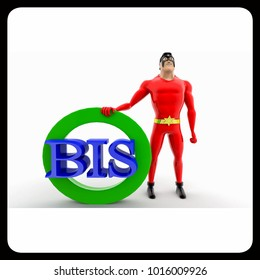 3d superhero BIS concept on white background, front angle view