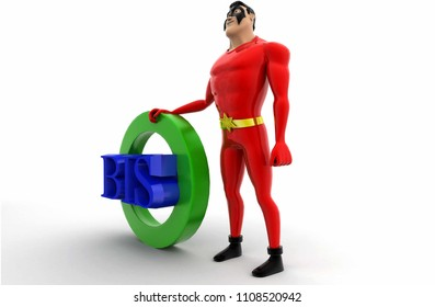 3d superhero BIS concept on white background, side angle view