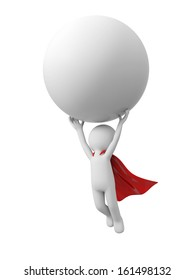 3d superman, superhero flying in red cape with ball in hand